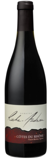 |bottle shot of domaine roche-audran cotes du rhone red wine
