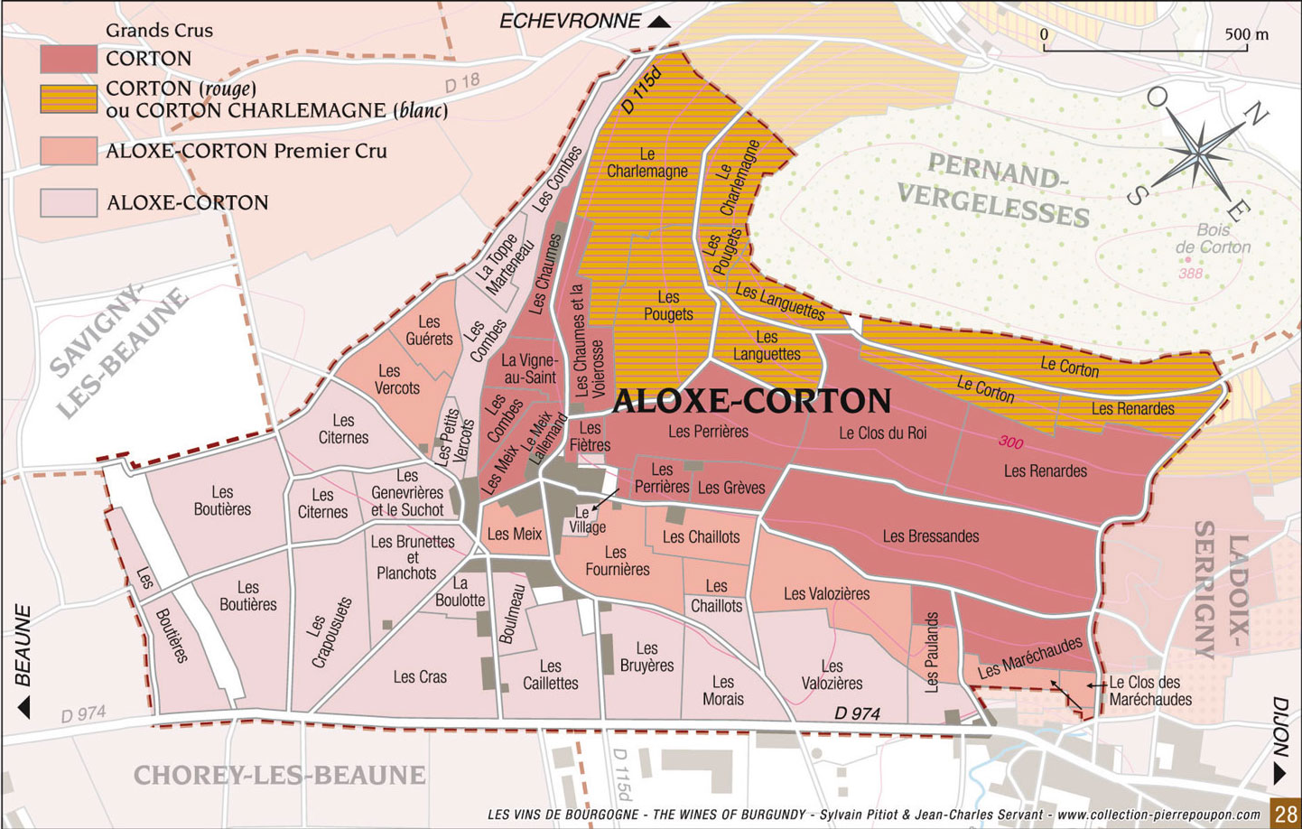 map of aloxe-corton wine region of burgundy